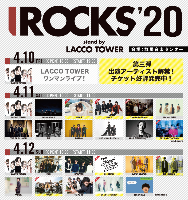 「I ROCKS 2020 stand by LACCO TOWER」第三弾出演アーティスト、日割りと共に解禁!